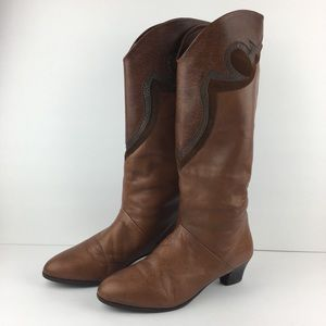 Corbellini Tall Brown Leather Western Boots